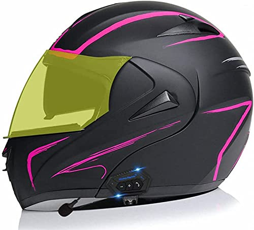 Casco para Motocicleta con Bluetooth Integrado Modular Abatible Hacia Arriba Visores Duales Antiniebla Casco Cara Completa FM Incorporada Función Respuesta Automática Aprobado por ECE E1,XXL(63-64)