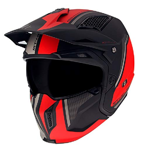 MT HELMETS 12726132534 Casco para Moto, Accesorio Unisex para Adultos, Color Rojo Mate, Small