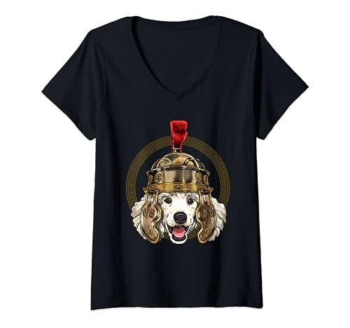 Mujer Caniche en casco romano Centurion Legionnaire amante de perros Camiseta Cuello V