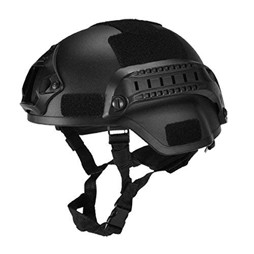 koiry Militar Táctico Casco Airsoft Engranaje Paintball Cabeza Protector con Visión Nocturna Deporte Soporte de Cámara - Negro