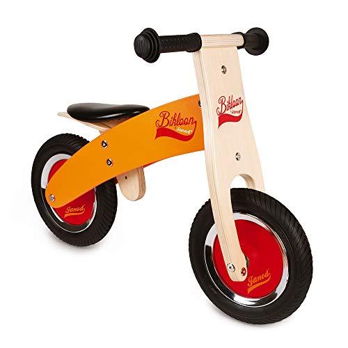 Janod - My First Little Bikloon - Bicicleta sin Pedales de Madera, Ideal para Desarrollar el Equilibrio y La Autonomía - Desde Los 2Años (Naranja y Rojo), J03263
