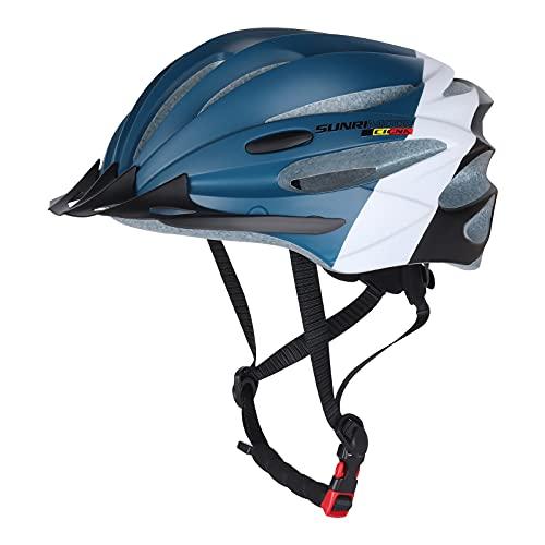 Casco Bicicleta Adulto, Casco MTB Casco De Bicicleta, Casco de Ciclismo de Montaña Y Carretera Ajustable con Visera Desmontable, Casco Bici Niño Ligeros para Hombres y Mujeres (Azul)