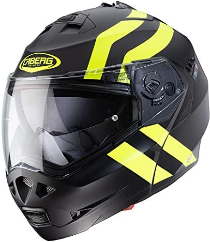Caberg Duke II SUPERLEGEND Casco para Moto, Hombre, Negro Mate y Amarillo Fluorescente, L