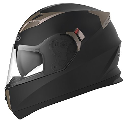 Casco Moto Integral ECE Homologado - YEMA YM-829 Casco de Moto Scooter para Mujer Hombre Adultos con Doble Visera -Negro Mate-L