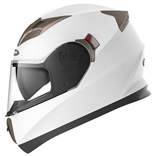 Casco Moto Integral ECE Homologado - YEMA YM-829 Casco de Moto Scooter para Mujer Hombre Adultos con Doble Visera -Blanco-S