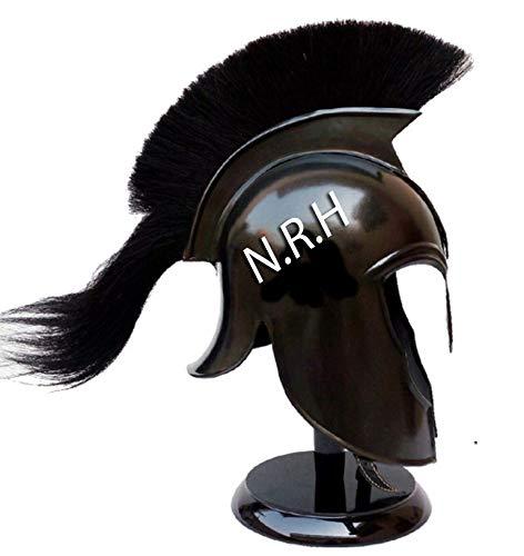 Réplica náutica Hub Medieval Caballero Wearable Troyano Armadura romana Casco con Plume Negro