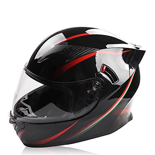 Casco de motocicleta casco de motocicleta con visera solar de doble capa casco de motocicleta de carreras de cara completa aprobado por ECE/DOT para hombres adultos y mu E1,XL61-62CM