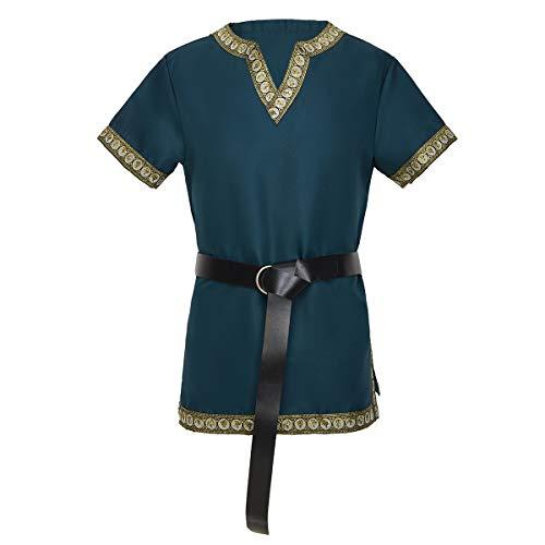 dream cosplay Medieval Caballero Camiseta vikinga Pirata túnica Verde