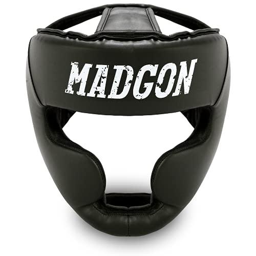 MADGON Casco de Boxeo con Increíble Protección de Impactos – Protector de Cabeza Boxeo Completo – Visión Ideal y Mínima Sudoración – Artes Marciales, MMA, Kick Boxing, Sparring – Incluye Bolsa