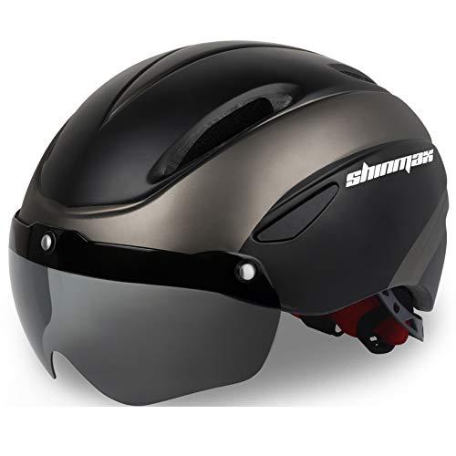 Shinmax Casco Bicicleta Certificato CE, Casco Bici Adulto con Occhiali Magnetici Staccabili Visiera Shield for Hombres Mujeres Casco da Bicicletta Mountain & Road Regolabile Protezione Ski & Snowboard