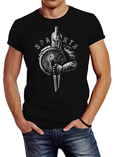 Neverless® Camiseta para hombre con diseño de casco de espartano de guerrero guerrero, espada y escudo de león, estilo urbano Sparta Legend negro. XL