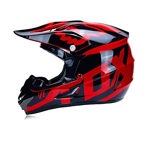 LSLVKEN Adulto Motocross Cascos de Motos con Gafas Máscara Guantes, Cascos de Cross Motocicleta DH Off-Road Enduro Motorcycle ATV MTB BMX Quad Motorbike Cascos Integrales para Hombres Mujeres,Rojo,XL