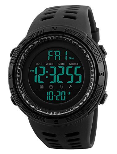 Reloj Digital para Hombre - Relojes Deportivo a Prueba de Agua para Hombre 50M, Reloj Militar Negro de Gran Cara LED con Alarma/Temporizador de Cuenta Regresiva/Cronómetro / 12 / 24H para Hombre
