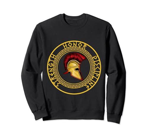 Fuerza Honor Disciplina Espartano Casco Troyano Gladiador Sudadera