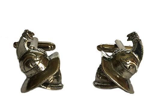 Gemelos de casco de gladiador romano, hechos a mano en Inglaterra de peltre fino.