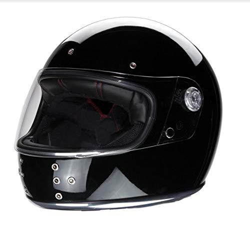 Casco integral de moto estilo retro El Canalla con pantalla negro brillo cantos cromados y remaches IGUANA CUSTOM COLLECTION … (L)