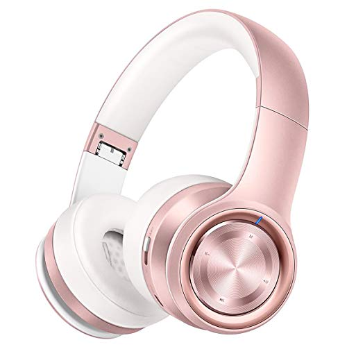 P26 Auriculares Bluetooth, Over Ear 80H de Hi-Fi Sonido Estéreo, Bajo Profundo Cable/Inalámbrico/TF, Plegable Inalámbricos Auriculares de Bluetooth 5.0 con Micrófono para Teléfono/TV