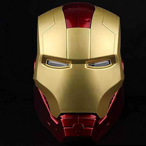 QWEASZER Iron Man Casco Máscara Luminosa, Marvel Avengers Plástico Máscaras faciales máscaras Cascos Película de Halloween Cosplay Accesorios de Disfraces,Iron Man Helmet Mask-<55cm