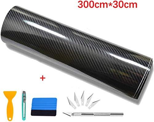 Kaliwa Vinilo Fibra de Carbono, Película Pegatina Decoración Autoadhesiva A Prueba de Agua Libre de Burbuja 300 * 30CM, Uso Exterior Interior para Coche Motocicleta Móvil Ordenador (Negro Plata)…