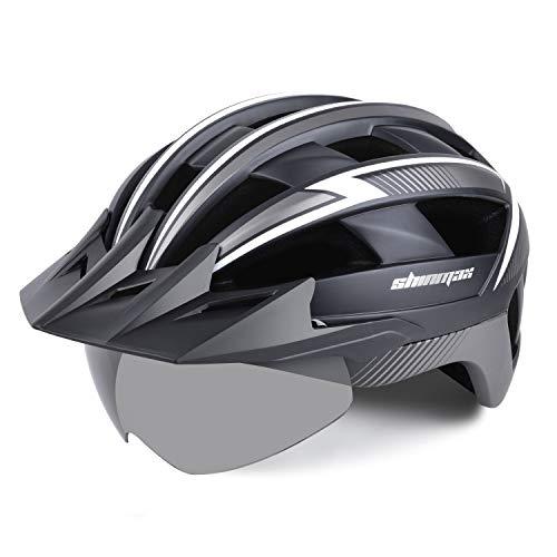 Shinmax Casco Bicicleta Carretera Casco Seguridad CE Stándar/Casco de Escalada Ajustable con USB Luz de Seguridad y Visera extraíble y Gafas de Montaña Magnéticas para Hombres y Mujeres Adultos