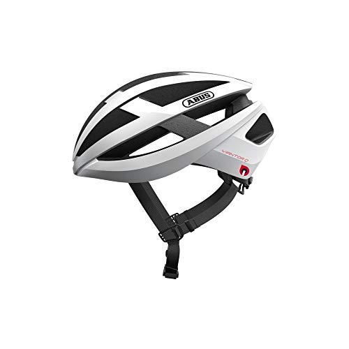 ABUS Viantor Quin Casco de carreras - Casco de bicicleta inteligente con detección de colisión y sistema de alarma SOS - Para hombres y mujeres - Blanco, talla M