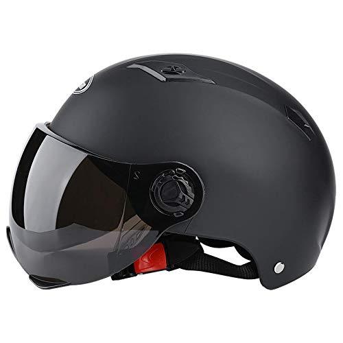 Casco de motocicleta para adultos, casco de cara abierta para hombre y mujer, con visera solar, casco de bicicleta, casco eléctrico para coche, color negro