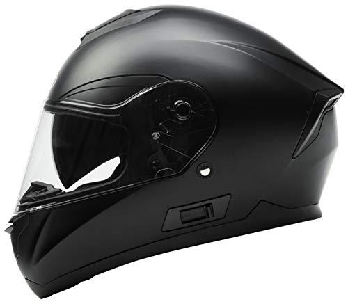 Casco Moto Integral ECE Homologado - YEMA YM-831 Casco de Moto Scooter para Mujer Hombre Adultos con Doble Visera -Negro Mate-XL