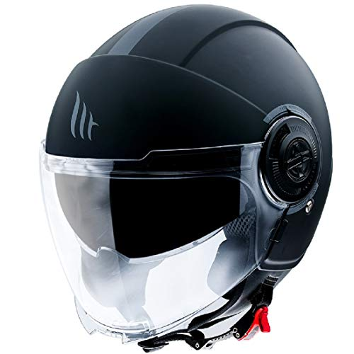 MT HELMETS 12830000137 Casco para Moto, Accesorio Unisex para Adultos, Negro Opaco, XL
