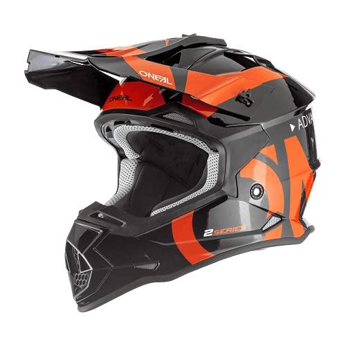 O'NEAL   Casco de Motocross   MX Enduro   ABS Shell, Estándar de Seguridad ECE 2205, Ventilación para una óptima ventilación y refrigeración   2SRS Youth Helmet Slick   Niños   Naranja Negra   Talla M