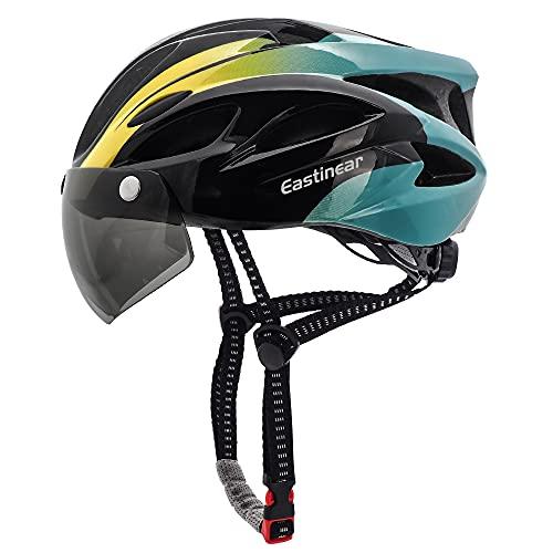 EASTINEAR Casco Bicicleta para Adultos con Gafas Hombre Mujer Casco Bicicleta con Luz de Seguridad LED Casco Ciclismo de Montaña y Carretera Tamaño Ajustable M/L 57-61cm (Negro Cian)