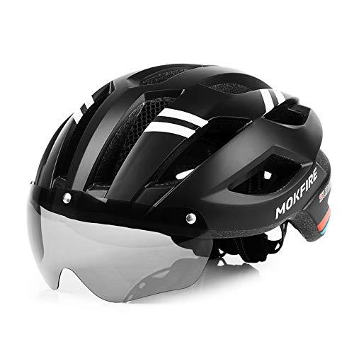 MOKFIRE Casco de Bicicleta con luz Trasera LED de Seguridad, Cascos de Bicicleta de Carretera Gafas magnéticas Desmontables Cascos Ajustables para Adultos para Hombres y Mujeres (57-62CM)