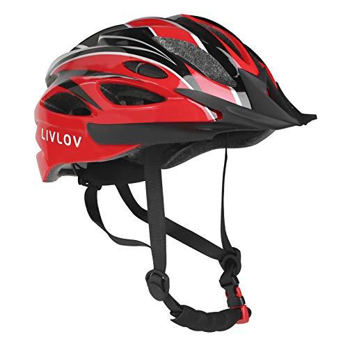 LIVLOV Casco Bicicleta Unisex Adulto Unisexo Ajustable 56-62 cm con Visera y Forro Desmontable Especializado para Ciclismo de Montaña Motocicleta (Rojo-Negro)