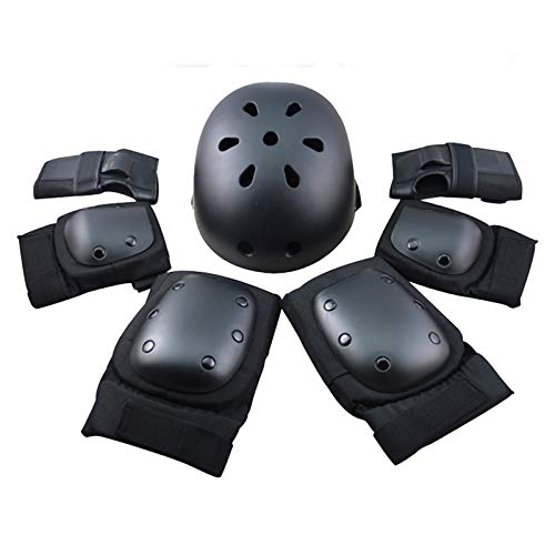 Protector de engranajes de seguridad deportiva conjunto de niños ajustable codo muñeca rodilleras casco para niños adolescente adulto scooter patinaje Ciclismo equitación hoverboard Regalo negro L