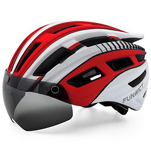 FUNWICT Casco Bicicleta Hombre Casco MTB con Gafas Magnéticas Extraíbles y Forro Interior Casco Bicicleta con Luz Trasera LED para Ciclismo 57-61 CM (Blanco Rojo)