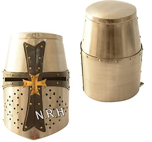 Casco Templario medieval Knight Armour Yelmo cruzado con correa de cuero