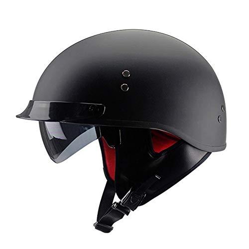 DUCCM Casco Moto Abierto Retro ECE Homologado Casco Ligero de Motocicleta Eléctrica Cascos Moto Jet Half Helmet con Visera Scooter Biker Racing Helmet para Adultos Hombres Mujeres