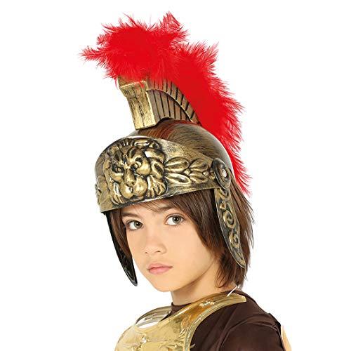 NET TOYS Casco Romano para niños   Dorado-Rojo   Extraordinario Accesorio Infantil para Disfraz de centurión   Apropiado para Carnaval y Festivales