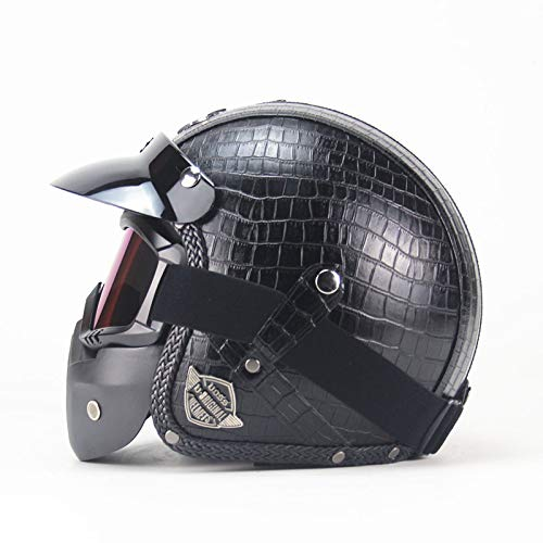 PU Casco Moto Jet ECE Homologado Casco Moto Abierto Custom Scooter para Mujer Hombre Adultos con Visera edición Limitada,B,L=(59~60CM)