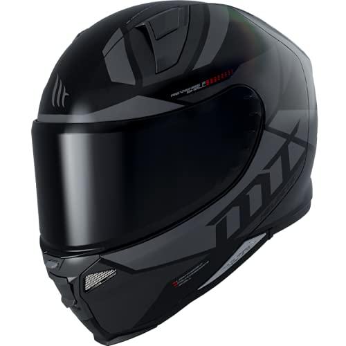 MT Helmets Revenge 2 Scalpel Negro Gris Mate - Casco Integral de Moto (M)