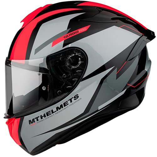 Casco Moto Integral homologado MT Targo Pro Modelo Sound A5 Rojo Fluor Brillo Dot Unisex Talla (M)