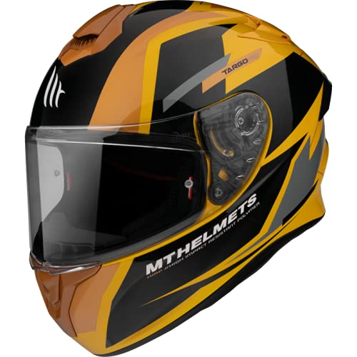 MT Helmets - Casco Integral FF106 Targo Pro Sound (D3 Negro/Amarillo, L)