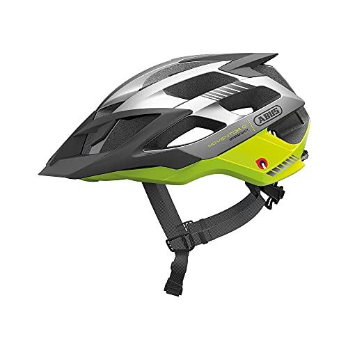ABUS Moventor Quin Casco para bicicleta de montaña - Casco de bicicleta inteligente con detección de colisión y sistema de alarma SOS - Para hombres y mujeres - Amarillo/plateado, talla M