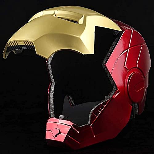 WXHJM Vengadores 1/1 Props Iron Man Superhéroe Casco,Coleccionables Unisex Ponible y Llevada Juguete Cosplay Puntales,con La Luz,Red
