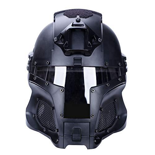 Gocher Casco táctico militar para airsoft paintball con lente de PC, casco de cubierta completa, accesorios para CS War-Game Shooting-(BK)