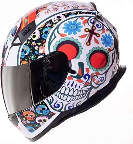 Shiro Casco Moto Integral ECE Homologado CASCO SH 881 MEXKULL BLANCO PERLADO EDICION LIMITADA (S) para Mujer Hombre Adultos con Doble Visera