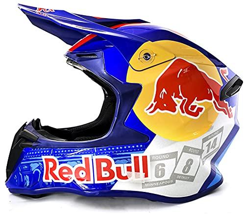 TKTTBD Casco de Motocross, Casco de Motocross para jóvenes, Casco de Motocross Profesional, certificación Dot, Casco de MTB Integral, Apto para Adultos y niños Red Bull B,M / 57-58 cm