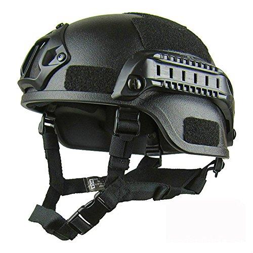 GEZICHTA MICH 2001 - Casco protector de airsoft, versión de acción táctica, con soporte NVG y rieles laterales para aire libre, para Airsoft Paintball CS, negro