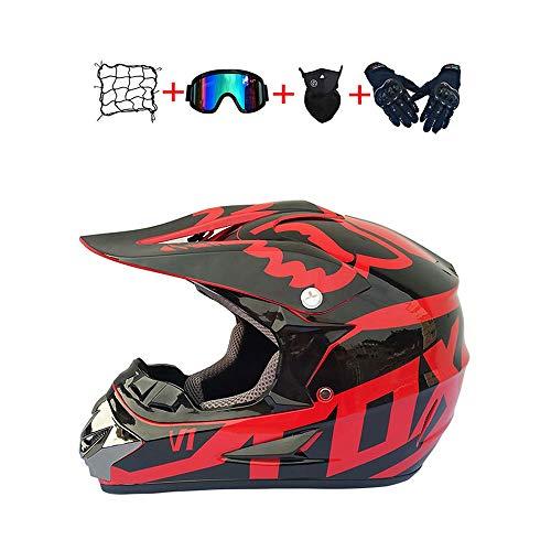 BHGJ Casco Motocross Niño,Diseñado con FOX Cascos De Motocross Cascos de Cross de Moto Set con Gafas/Máscara/Guantes(FOX,rojo) (S)