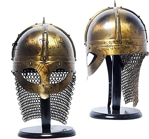 Casco Viking con cadena de correo medieval Norman Knight Battle Armor W/casco de madera