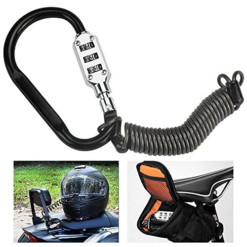 STCRERAG Candado Casco Moto Antirrobo Casco Candados de Moto Cable de Bloqueo para Casco de Motocicleta Combinación de 3 Dígitos para Antirrobo Asegura su Motocicleta, Bicicleta, etc
